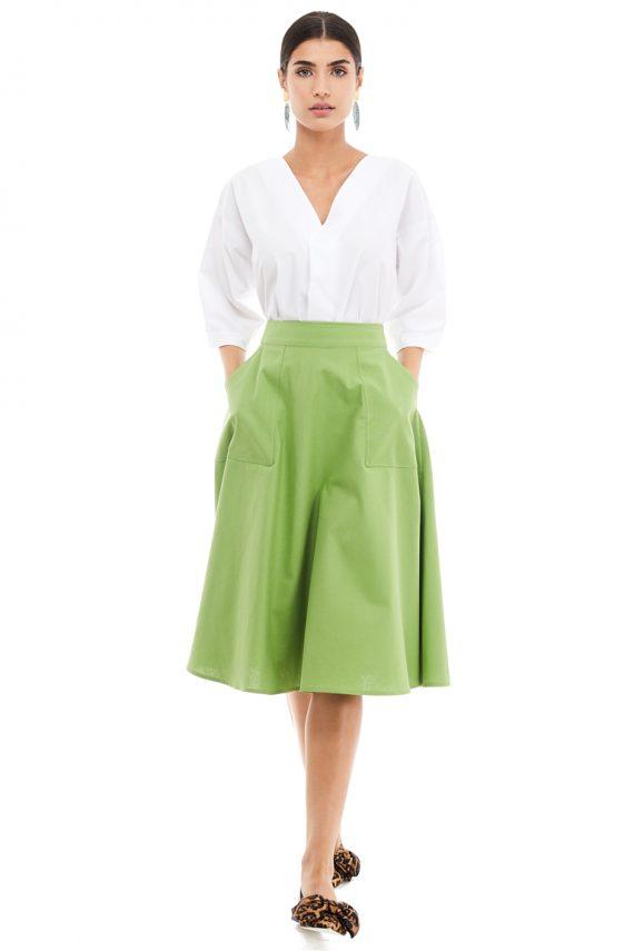 Applied Pockets Cotton Midi Skirt