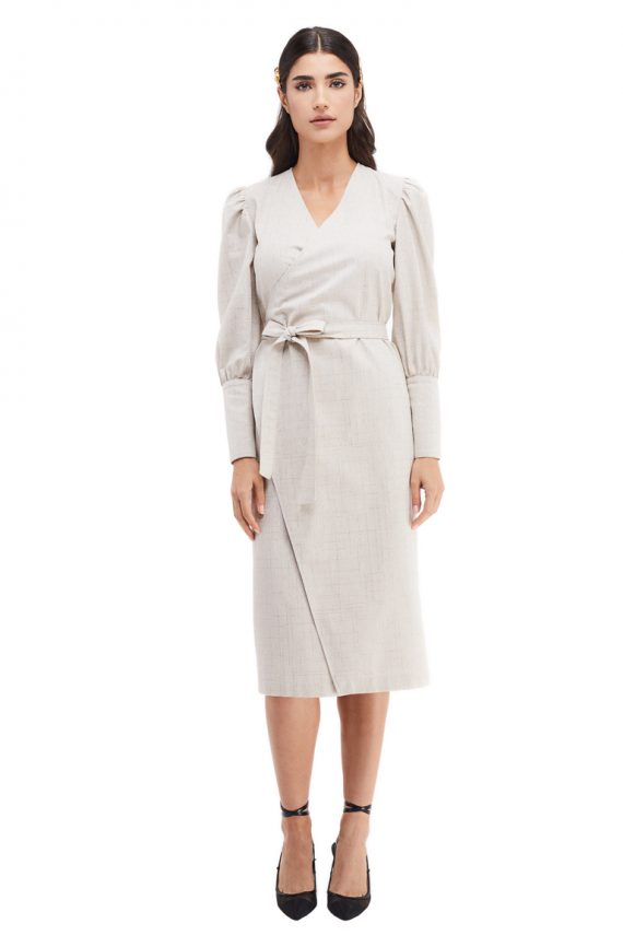 Avril Button Cuffs Midi Wrap Dress