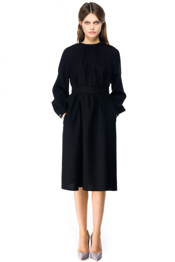 Belted Oversized Wool Midi Dress