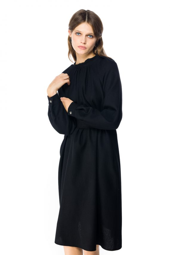 Belted Oversized Wool Midi Dress - close up