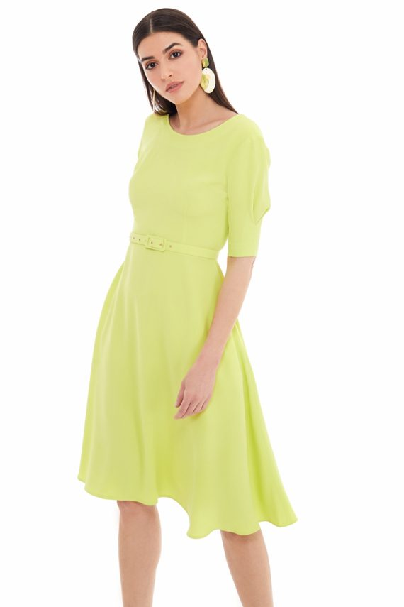 Belted Viscose Midi Dress
