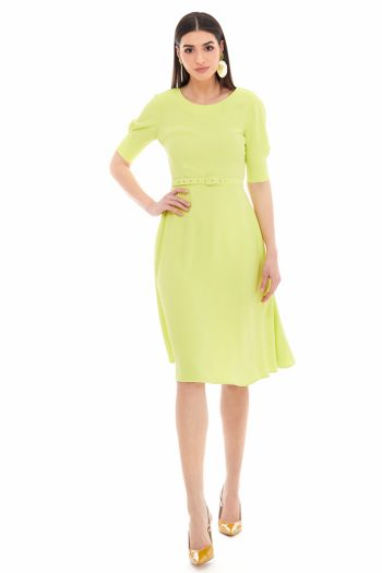 Belted Viscose Midi Dress