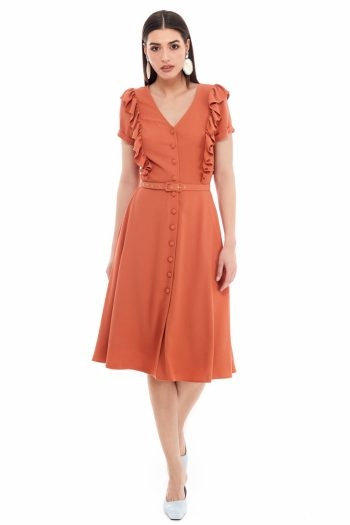 Belted Viscose Shirt Dress
