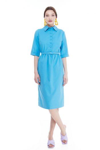 Bette Gathered Cotton Midi Dress