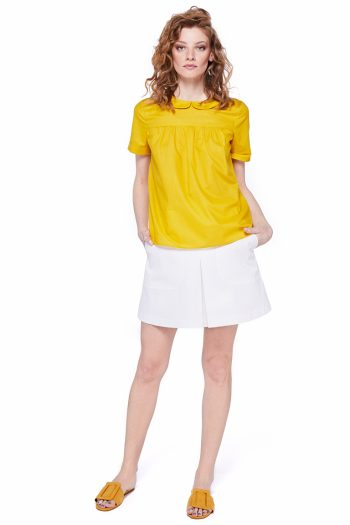 Round Collar Cotton Poplin Blouse