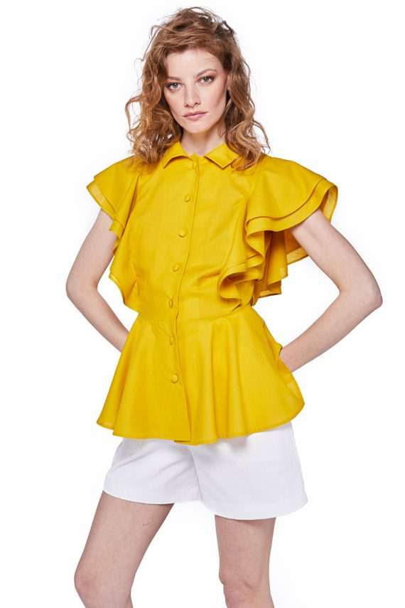 Ruffled Cotton Poplin Blouse