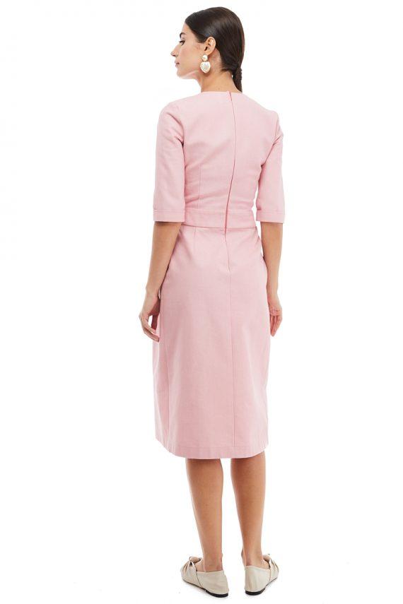 Button Detailed Cotton Midi Dress