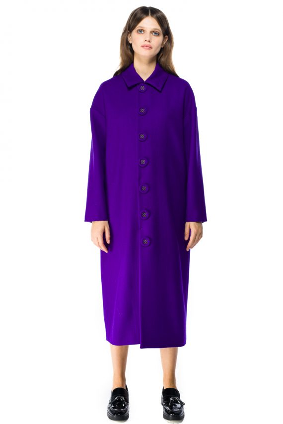 Button Detailed Oversized Wool Coat