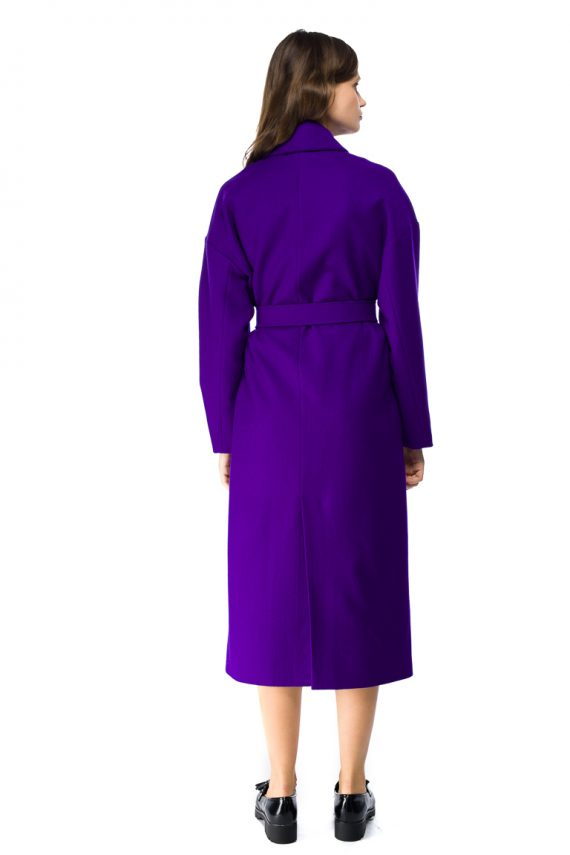 Button Detailed Oversized Wool Coat - back