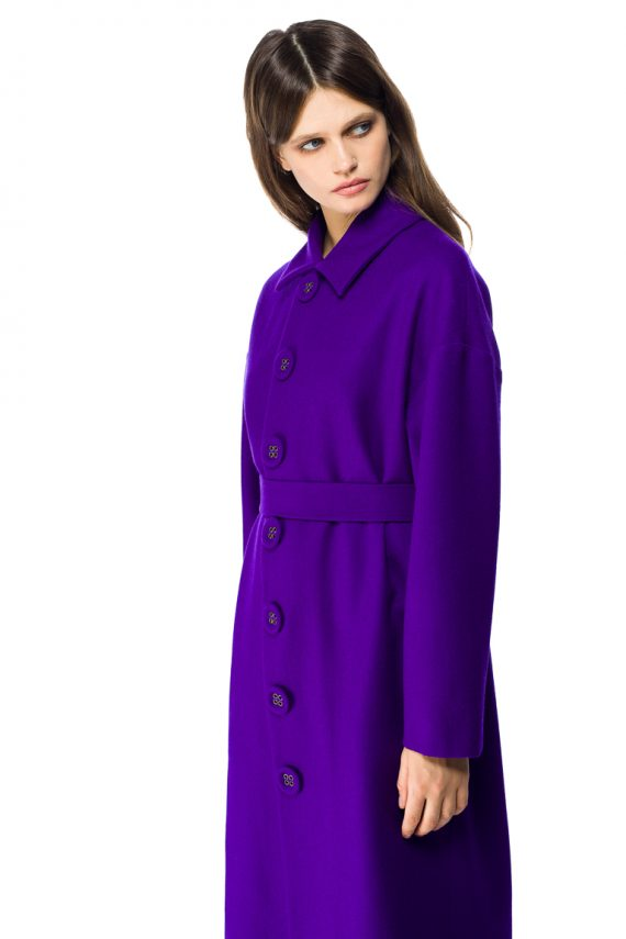 Button Detailed Oversized Wool Coat - close up