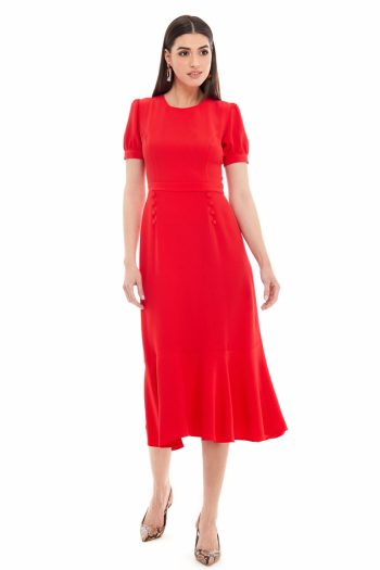 Button Detailed Viscose Midi Dress