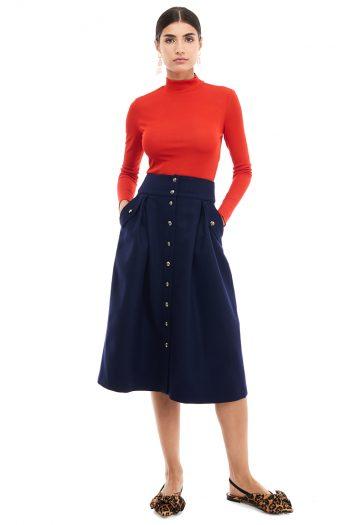 Button Detailed Wool Midi Skirt