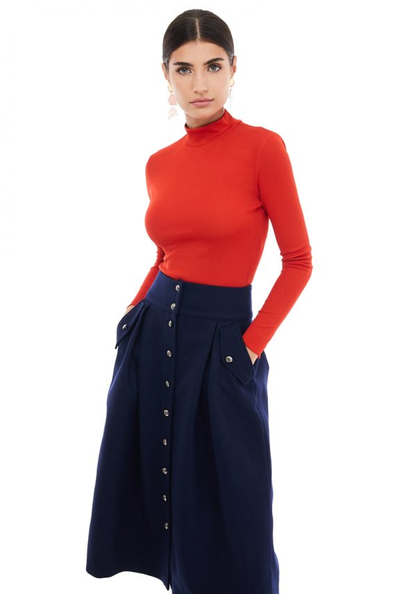 Button Detailed Wool Midi Skirt
