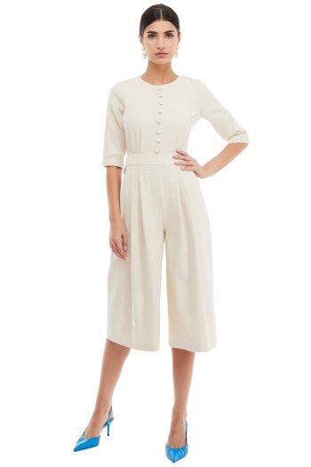 Button Embellished Cotton Jumpsuit