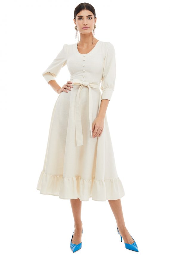 Button Embellished Cotton Midi Dress