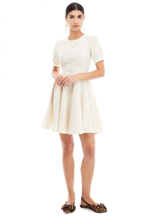 Button Embellished Cotton Mini Dress