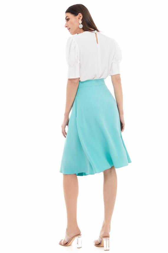 Button Embellished Viscose Midi Skirt