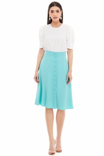 Button Embellished Viscose Midi Skirt