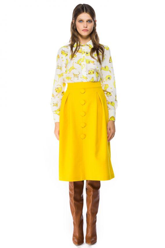 Button Front Wool Midi Skirt