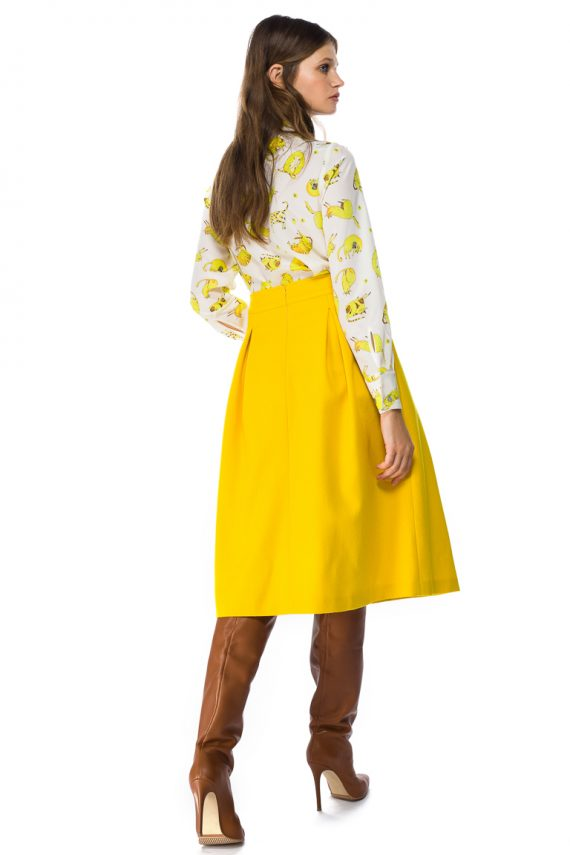 Button Front Wool Midi Skirt - back