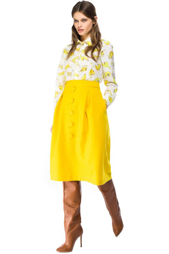Button Front Wool Midi Skirt - side