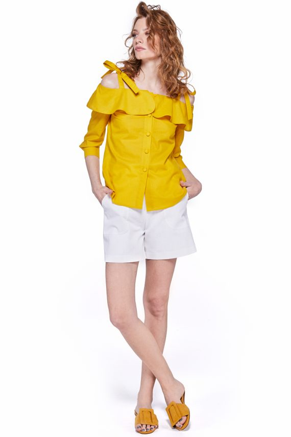 Cold Shoulder Ruffled Cotton Poplin Shirt