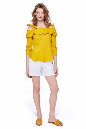 Cold Shoulder Ruffled Cotton Poplin Shirt