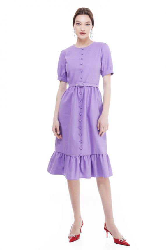 Carmen Ruffled Hem Cotton Midi Dress