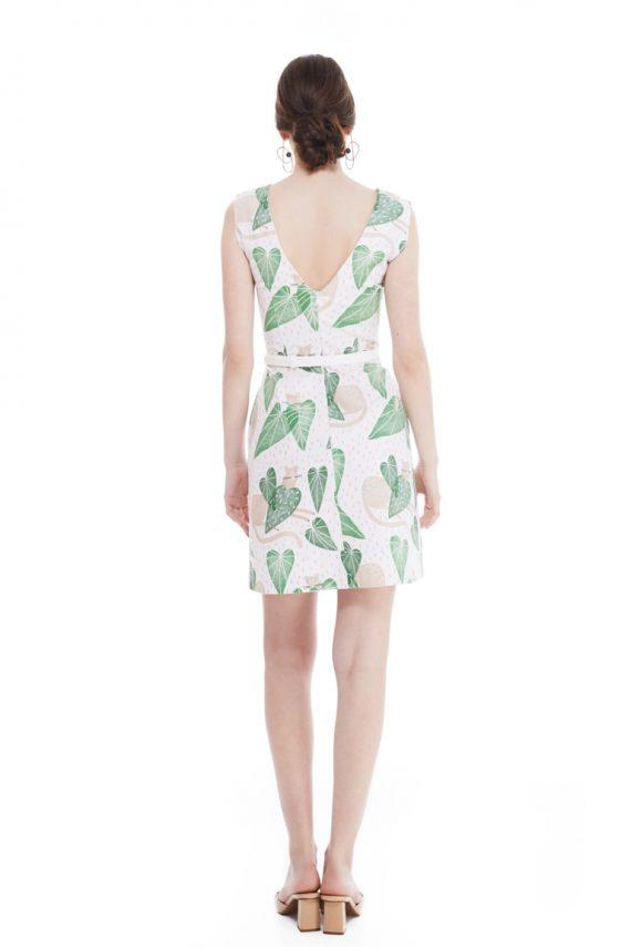 Carole Belted Cotton Mini Dress