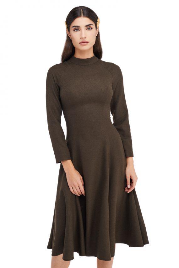 Celia Godet Belted Wool Midi Dress