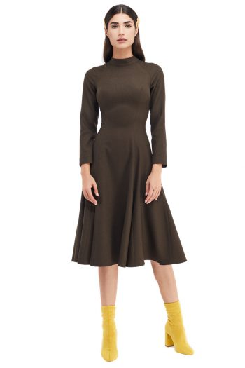 Celia Godet Belted Wool Midi Dress