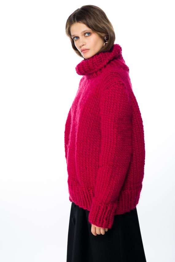 Chunky Turtleneck Wool Sweater - side