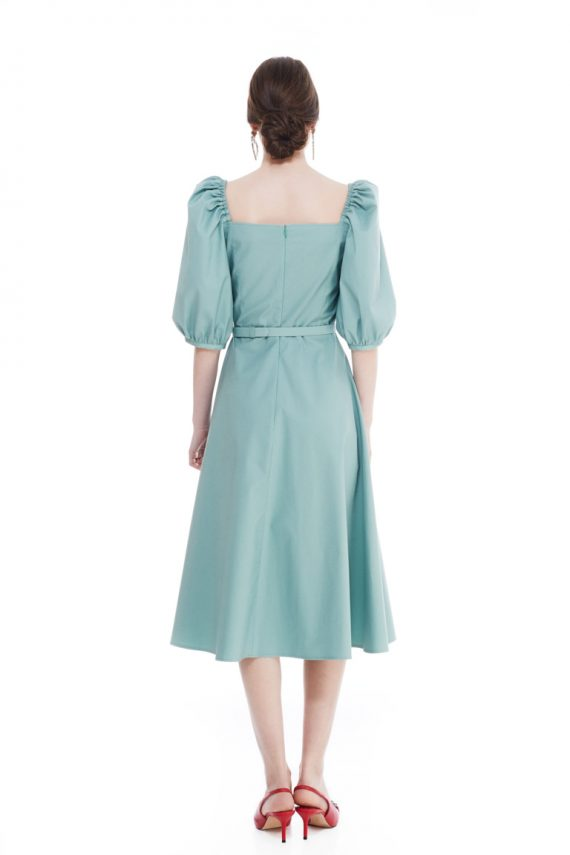 Claudette Blouson Cotton Midi Dress