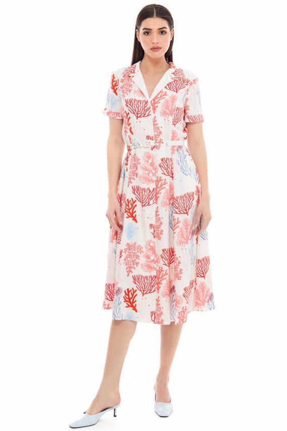 Coral Print Midi Shirt Dress