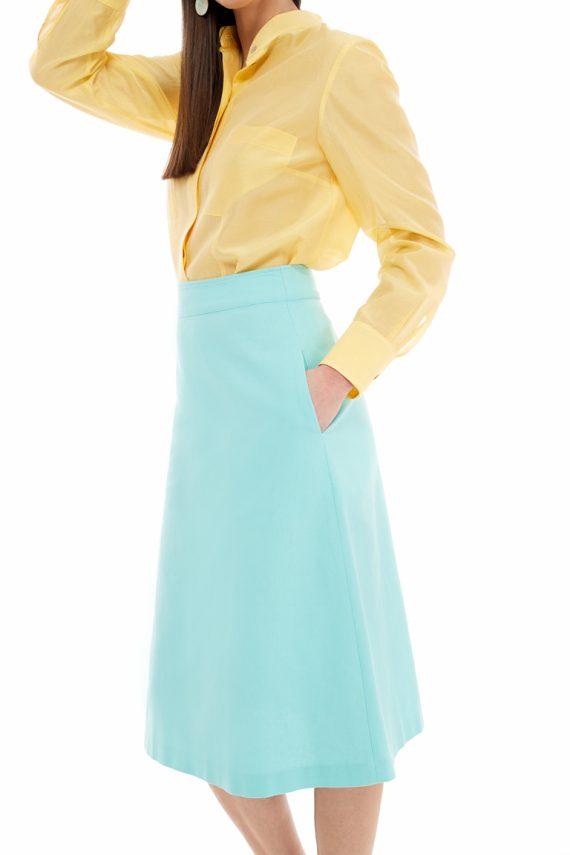 Cotton A-line Midi Skirt
