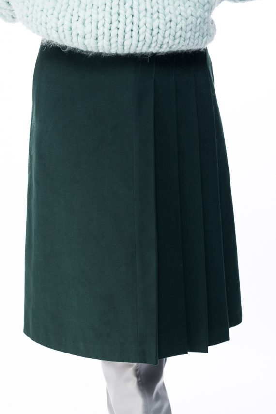 Cotton Pleated Midi Skirt - close up