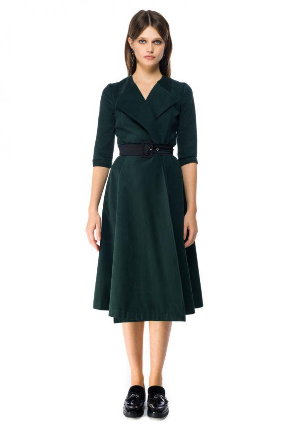 Cotton Wrap Midi Dress