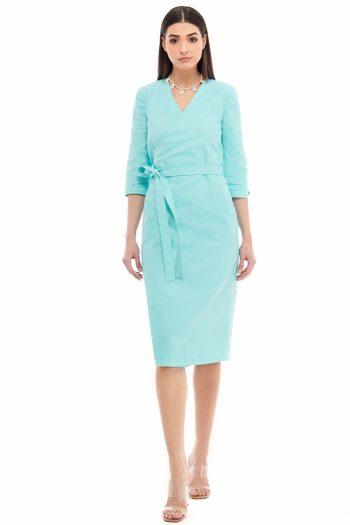 Cotton Midi Wrap Dress