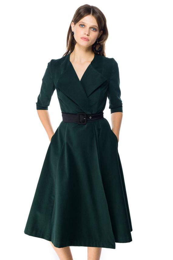 Cotton Wrap Midi Dress - detail