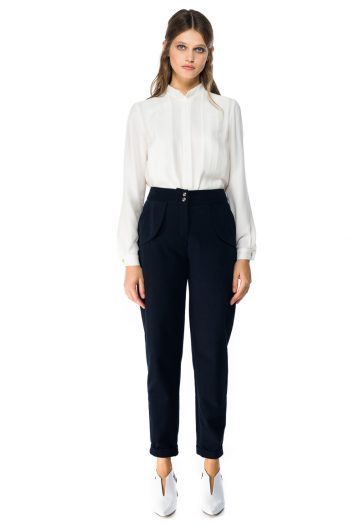 Cropped Cotton Tapered Pants