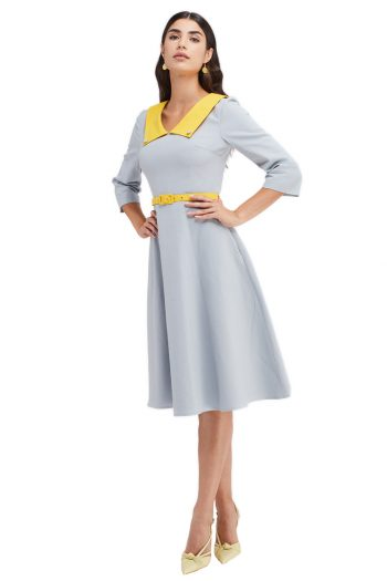 Desiree Belted Two Tone Cotton Midi Dress