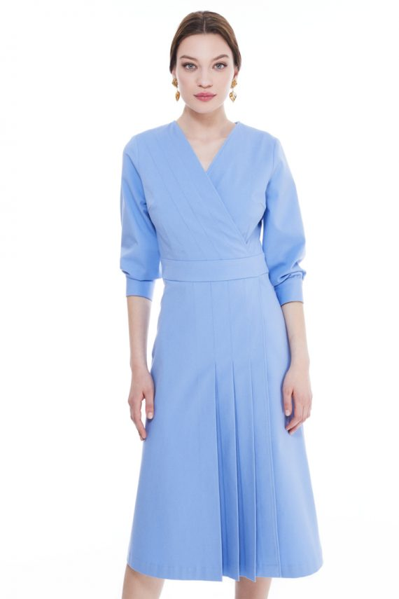 Donna Wrap Effect Cotton Midi Dress