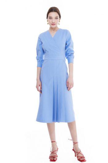 Donna Wrap Effect Cotton Midi Dress