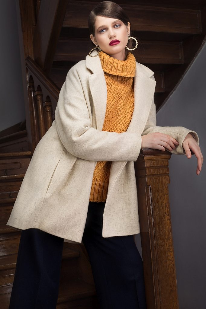 Oversized Wool Sweater, Short Oversized Wool Coat and Cropped Wool Wide Leg Pants