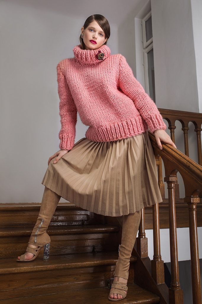 Oversized Wool Blend Sweater and Pleated Midi Skirt