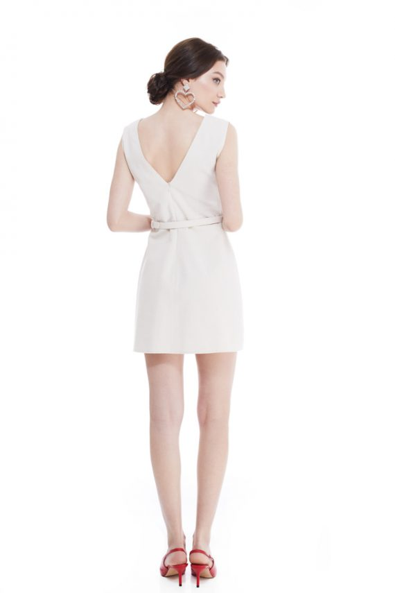 Fay Button Embellished Cotton Mini Dress