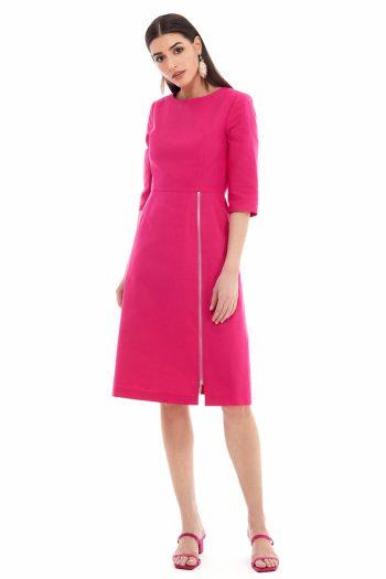 Front Slit Cotton A-line Dress