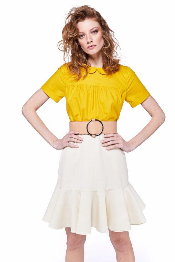 Ruffled Wool Mini Skirt