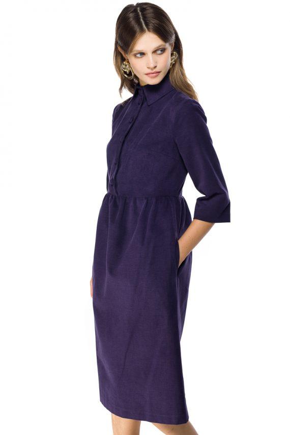 Gathered Cotton Midi Dress - close up