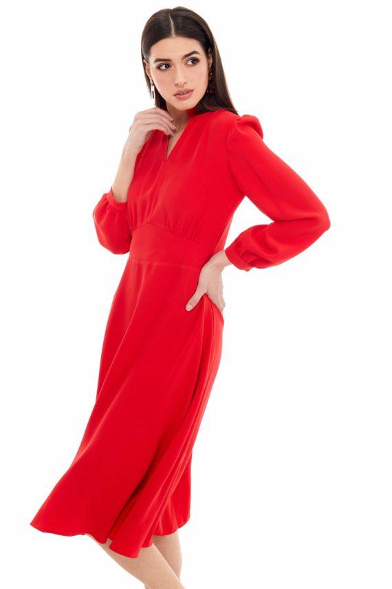 Gathered Viscose Midi Dress